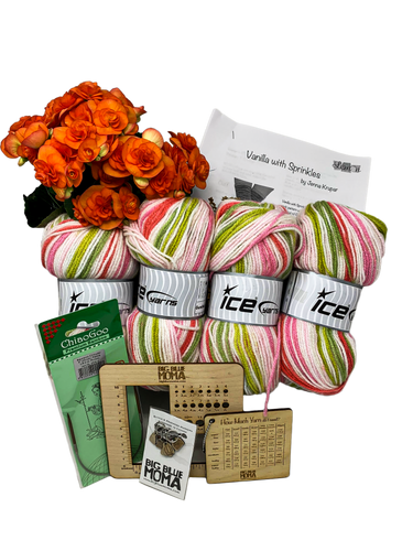Learn to Knit Kit and Gift Box/Knitting Basket