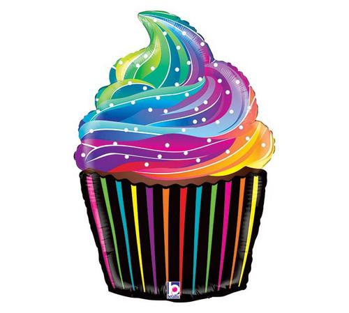 Rainbow Birthday Cupcake  ~ Super Shape Mylar Balloon