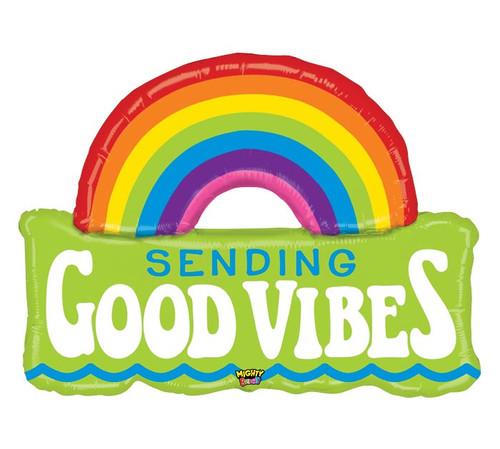 Sending Good Vibes Rainbow ~ Super Shape Mylar Balloon