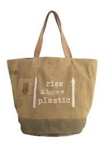 Rise Above Plastic Canvas Bag by Vintage Addiction