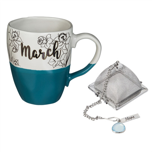 16 OZ Ceramic Birthday Cup w/Tea Filter, Tea Charm ~ March