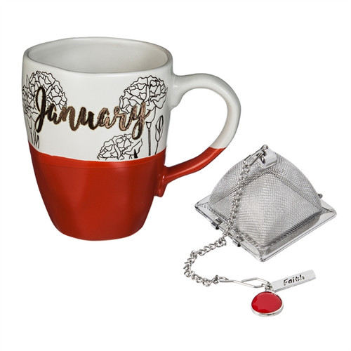 16 OZ Ceramic Birthday Cup w/Tea Filter, Tea Charm ~ January