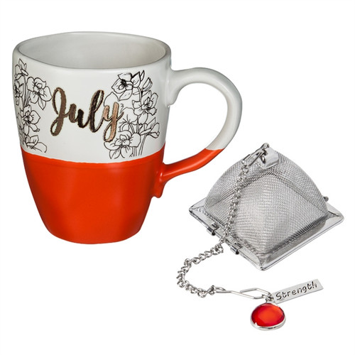 16 OZ Ceramic Birthday Cup w/Tea Filter, Tea Charm ~ July