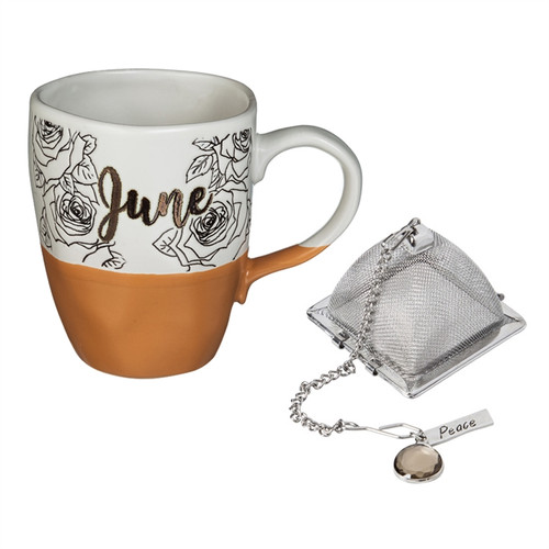 16 OZ Ceramic Birthday Cup w/Tea Filter, Tea Charm ~ June