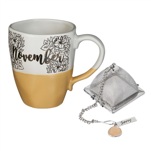 16 OZ Ceramic Birthday Cup w/Tea Filter, Tea Charm ~ November