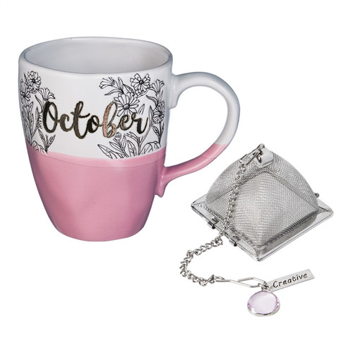 16 OZ Ceramic Birthday Cup w/Tea Filter, Tea Charm ~ October