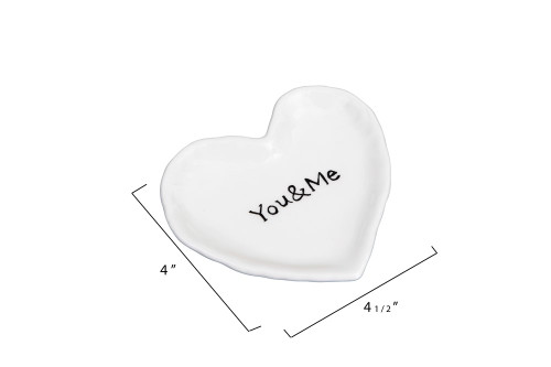 "4.5 ""You and Me"" Ceramic Heart Dish by Creative Co-op"