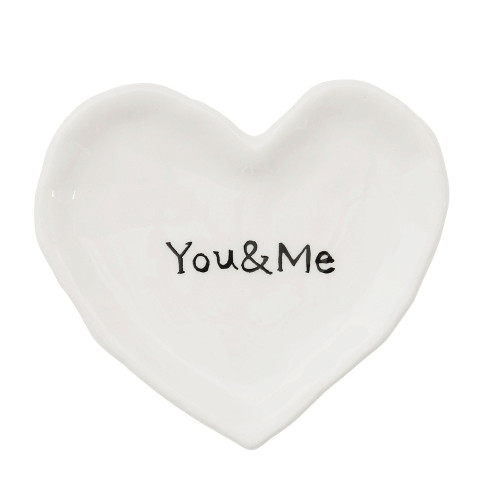 """4.5 """"You and Me"""" Ceramic Heart Dish by Creative Co-op"""