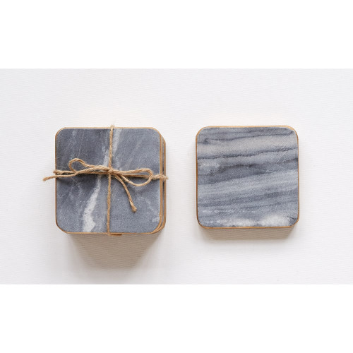 """4"""" Square Marble Coasters (Set of 4) by Creative Co-op"""