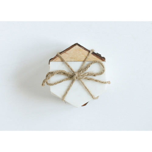 """4"""" Hexagon Marble with Mango Inlay Coasters (Set of 4) by Creative Co-op"""
