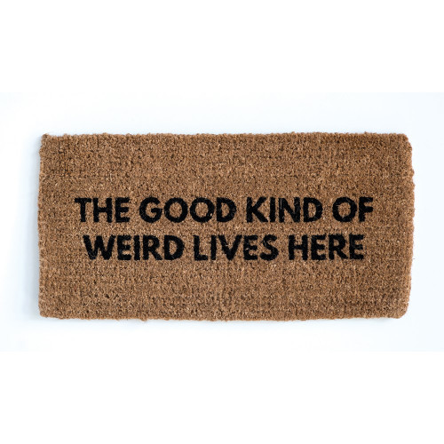 """The good kind of weird lives here"" 32"" x 16"" Natural Sisal Doormat by Creative Co-op"