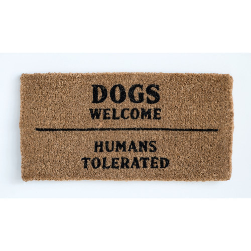 """""""Dogs Welcome ~ Humans Tolerated"""" 32"""" x 16"""" Natural Sisal Doormat by Creative Co-op"""