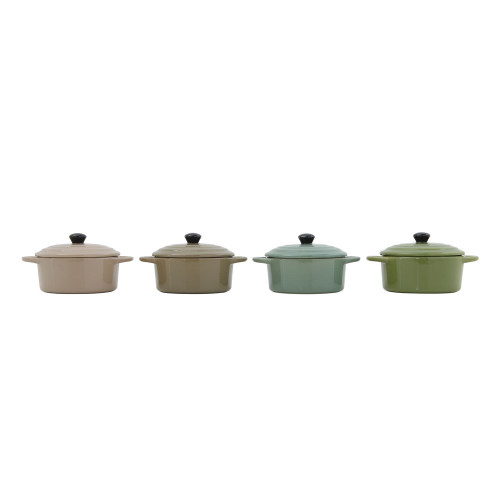"5"" Round Stoneware Covered Kettle by Creative Co-op (Set of 4)"