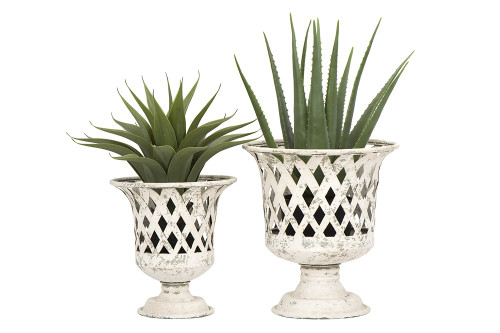 """16"""" X 14"""" Metal Footed Basket Style Distressed  Planters by Creative Co-op (Set of 2)"""