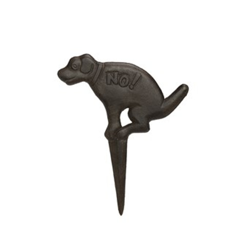 """""""Don't  Poo"""" 14"""" Cast Iron Dog Yard Stake by Creative Co-op"""