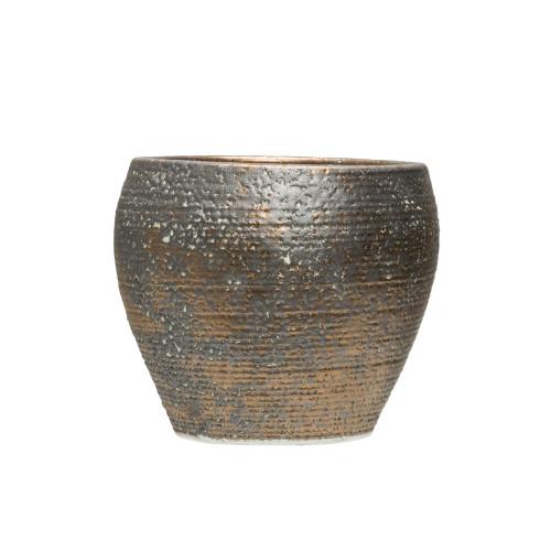 "7"" Terra-cotta Planter, Reactive Glaze, Metallic Round by Creative Co-op"