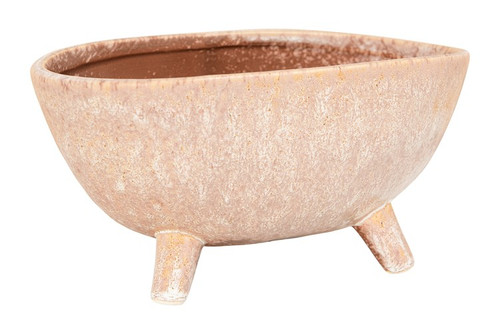 "9"" x 5"" Stoneware Footed Planter w/Reactive Glaze in Putty Color  by Creative Co-op"