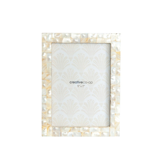 """8-1/2"""" x 6-1/2"""" Mother of Pearl Photo Frame (Holds 5"""" x 7"""" Photo) by Creative Co-op"""