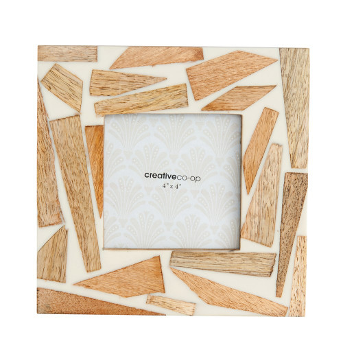 """7"""" Square Wood & Resin Photo Frame (Holds 4"""" x 4"""" Photo)by Creative Co-op"""