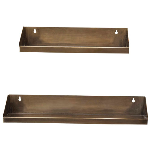 "20"" & 15""Metal Wall Shelves, Antique Brass Finish, Set of 2 by Creative Co-op"