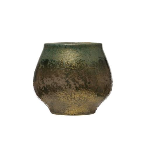 "7"" Stoneware Planter, Reactive Glaze, Iridescent Green by Creative Co-op"