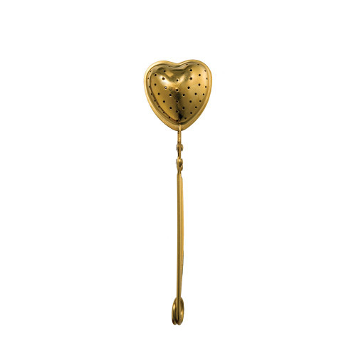 "6"" Stainless Steel Heart Shaped Loose Tea Strainer, Gold Finish by Creative Co-op"
