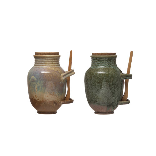 """9"""" Stoneware Olive Jar w/ Cork & Tongs, Set of 2 by Creative Co-op"""