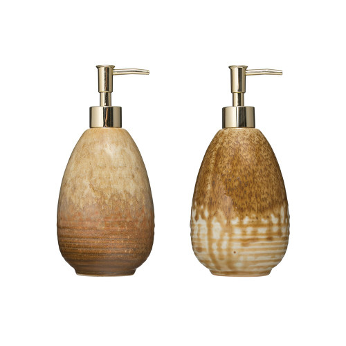 "7"" Stoneware Soap Dispenser Reactive Glaze, Set of 2 by Creative Co-op"