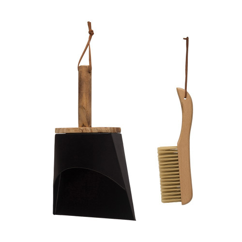 """10"""" Beech Wood Brush & Metal Dust Pan w/ Leather Straps, Natural & Black, Set of 2by Creative Co-op"""