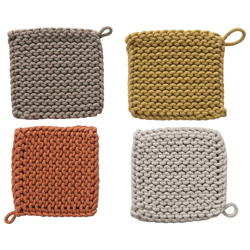 """8"""" Square Cotton Crocheted Pot Holder by Creative Co-op- Set of 4~Earth Tones"""