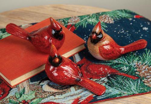 Cardinal Home Decor Statues~Set of Three