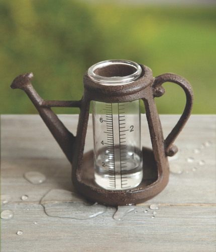 Cast Iron Watering Can Rain Gauge