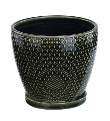 "6"" Dark Green Ceramic Diamond Planter"