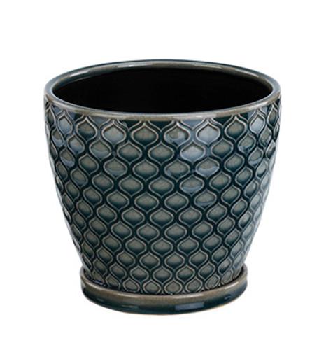 """6"""" Blue Lattice Ceramic Planter"""