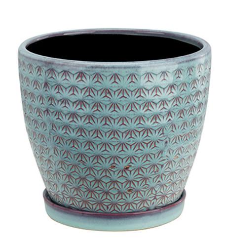 """6"""" Blue Gray Prism Ceramic Planter With Saucer"""