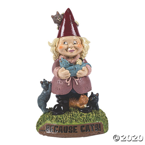 Crazy Cat Lady Garden Gnome