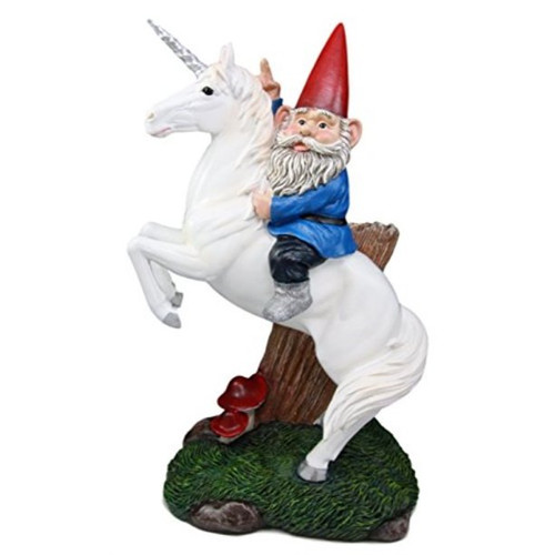 13.5' Magical Adventure Garden Gnome on Unicorn