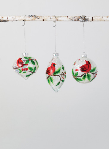 Set of 3 Glass Cardinal Ornaments