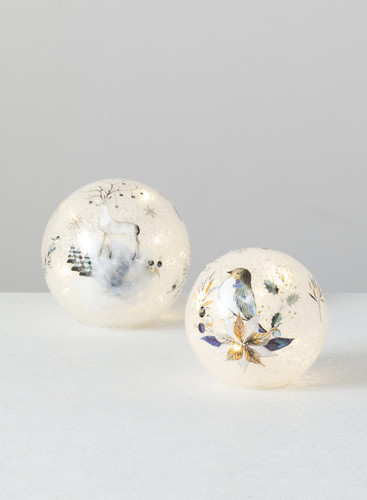 Glass Artic Sky  Deer and Bird LED Spheres - Set of 2