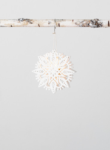 LED Snowflake Cutout Wood Ornament