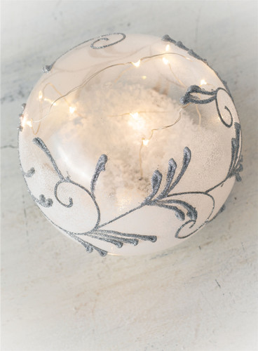 """6"""" LED Glass Silver Ornament Sphere"""