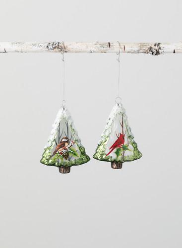 Cardinal & Birds Tree Glass Ornament - Set of 2
