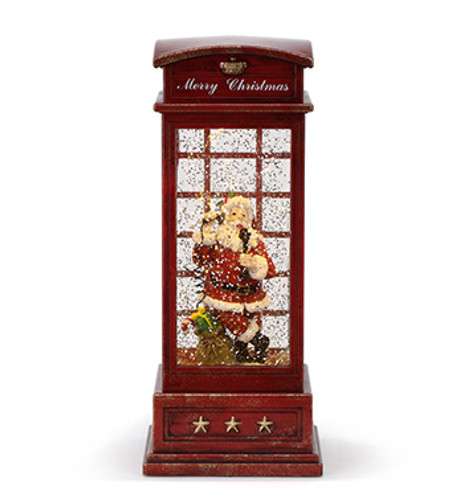 Swirling Glitter Lighted Santa in a Phone Booth LED Figurine