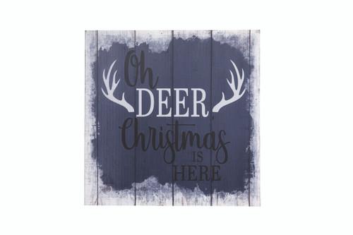 """12"""" Sq Oh Deer Christmas Wood Wall Sign"""