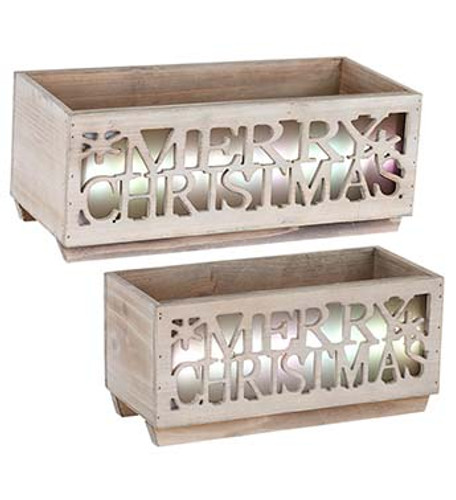 LED Light Up Christmas Wooden Planters Set - With Timer