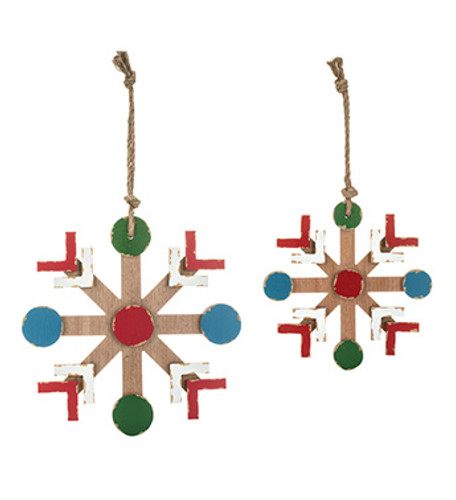 Nordic Extra Large Wooden Snowflake Ornaments ~ Set of 2