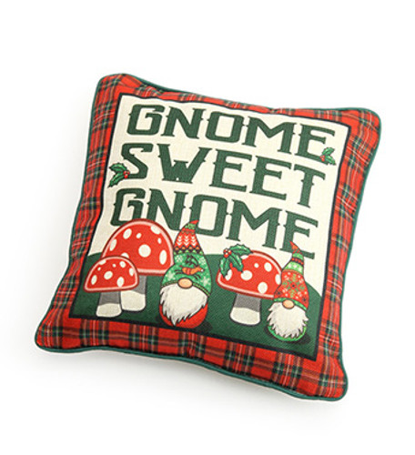 "12"" Sq Gnome Sweet Gnome Tartan Pillow"