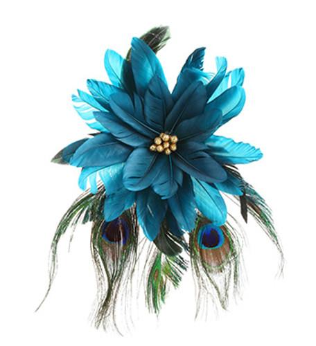 Blue Poinsettia With Peacock Feather Spray