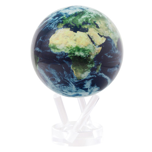 "4.5"" Self Turning Earth with Clouds Globe with Acrylic Base by Mova"