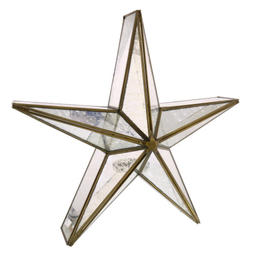 "19"" Mirrored Glass and Brass Star Candle Holder"